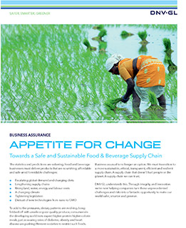 Towards a Safe and Sustainable Food & Beverage Supply Chain - DNV GL